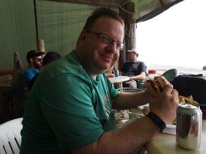 Dwarf eating at Chez Monique - West Coast Trail 2015