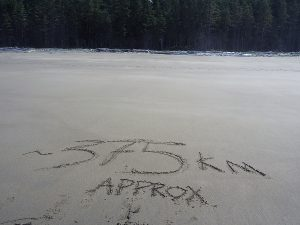 37.5km drawn in the sand - Halfway on the West Coast Trail 2015